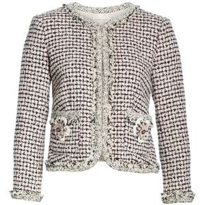 NWT Rebecca Taylor Houndstooth Tweed Jacket Sz 0